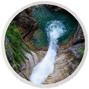 Pollat River Waterfall - Neuschwanstein Castle - Germany Round Beach Towel