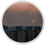 Polluted Sunset Round Beach Towel