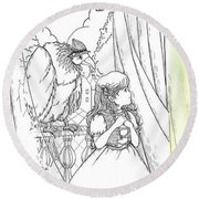 Polly And Tammy On The Balcony Round Beach Towel