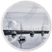 Reflections In A Creek  Round Beach Towel