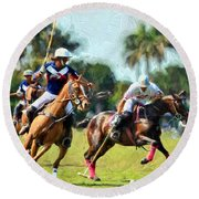 Polo Players And Ponies Round Beach Towel