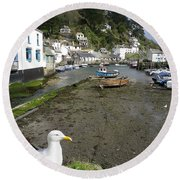 Polperro Harbour Cornwall And Seagull Round Beach Towel