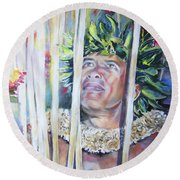 Polynesian Maori Warrior With Spears Round Beach Towel