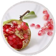 Pomegranate And Seeds  Round Beach Towel