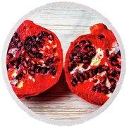 Pomegranate Cut In Half Round Beach Towel