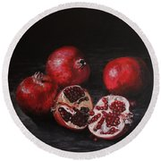 Pomegranates Round Beach Towel