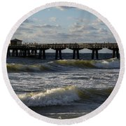 Pompano Beach Fishing Pier At Sunrise Florida Sunrise Waves Round Beach Towel