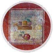 Pompeii Pomegranate Still Life Fresco 1 Round Beach Towel