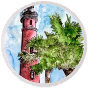 Ponce De Leon Inlet Florida Lighthouse Art Round Beach Towel