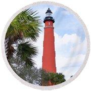 Ponce De Leon Lighthouse Round Beach Towel