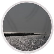 Ponce Inlet Pier Round Beach Towel