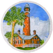 Ponce Lighthouse Round Beach Towel