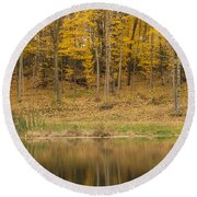 Pond And Woods Autumn 1 Round Beach Towel
