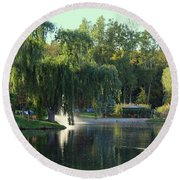 Pond At Mae Stecker Park In Shelby Township Mi  Round Beach Towel