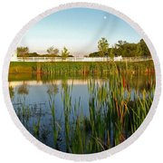Pond At Sunset Round Beach Towel