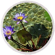 Pond Florals Round Beach Towel
