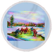 Pond Hockey Blue Skies Round Beach Towel