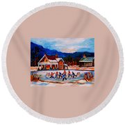 Pond Hockey Round Beach Towel