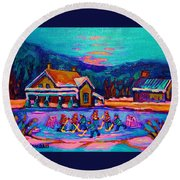 Pond Hockey Two Round Beach Towel