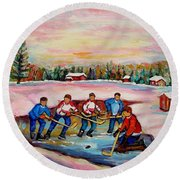 Pond Hockey Warm Day Round Beach Towel