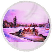 Pond Hockey Warm Skies Round Beach Towel