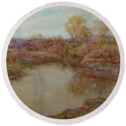 Pond In Early Autumn Round Beach Towel