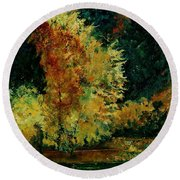 Pond In Fenffe Round Beach Towel