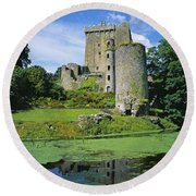 Pond In Front Of A Castle, Blarney Round Beach Towel