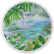 Pond In The Morning Round Beach Towel