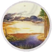 Pond In The Wood Round Beach Towel