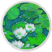 Pond Lily 2 Round Beach Towel