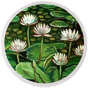 Pond Of Petals Round Beach Towel