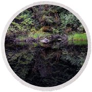 Pond Reflections -- Tongass National Forest Alaska Round Beach Towel