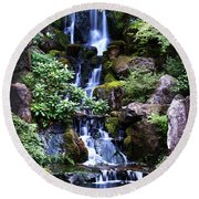 Pond Waterfall Round Beach Towel