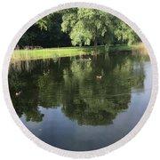 Pond With Ducks Round Beach Towel