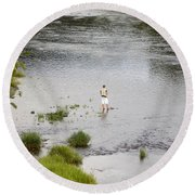 Pondering Fisherman Round Beach Towel