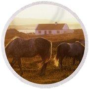 Ponies Grazing In A Field, Connemara Round Beach Towel