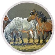 Ponies Round Beach Towel