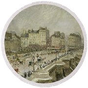 Pont Neuf Snow Effect Round Beach Towel