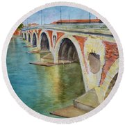 Pont Neuf Sur La Garonne At Toulouse Round Beach Towel