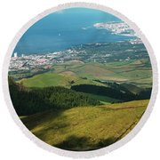 Ponta Delgada And Lagoa Round Beach Towel