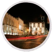 Ponta Delgada At Night Round Beach Towel