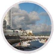 Ponta Delgada Waterfront Round Beach Towel