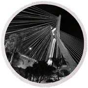Ponte Octavio Frias De Oliveira At Night - Sao Paulo, Brazil Round Beach Towel