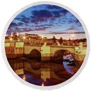 Ponte Romana At Dusk - Tavira, Portugal Round Beach Towel by Barry O Carroll
