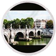 Ponte Saint' Angelo, Rome Round Beach Towel