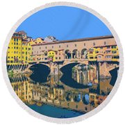 Ponte Vecchio Florence Round Beach Towel