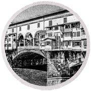 Ponte Vecchio Florence Sketch Round Beach Towel
