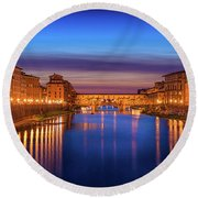 Ponte Vecchio Nigth Panorama Round Beach Towel