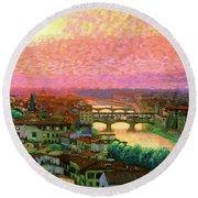Ponte Vecchio Sunset Florence Round Beach Towel